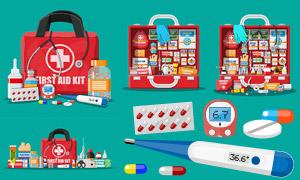 医疗药品与急救包主题设计矢量素材