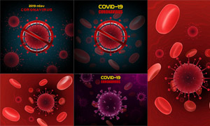 红细胞与新冠病毒细胞创意矢量素材