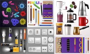 手电筒铅笔与咖啡壶等日用品矢量图