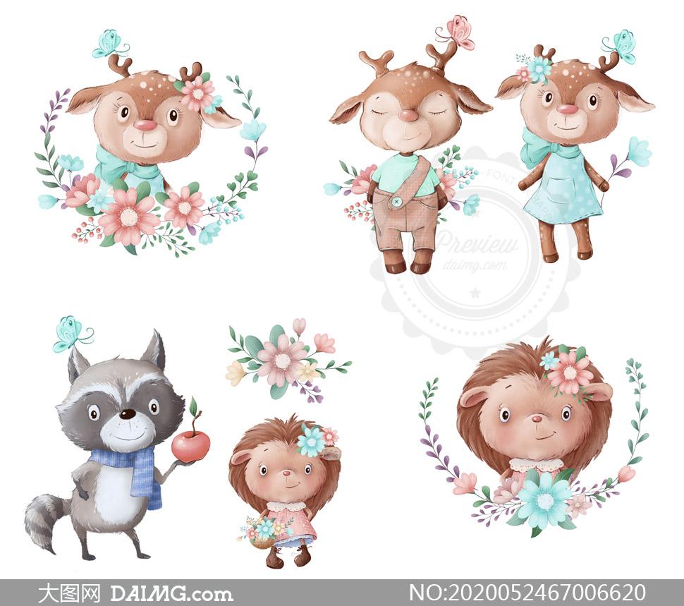 花朵藤蔓与动物等卡通创意矢量素材