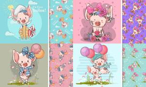 水彩创意可爱小猪插画主题矢量素材
