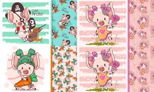 可爱装扮的小猪猪卡通创意矢量素材