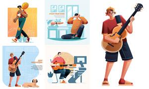 弹奏吉他的人物等扁平化插画矢量图