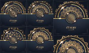 光效元素装饰金色曼陀罗图案矢量图