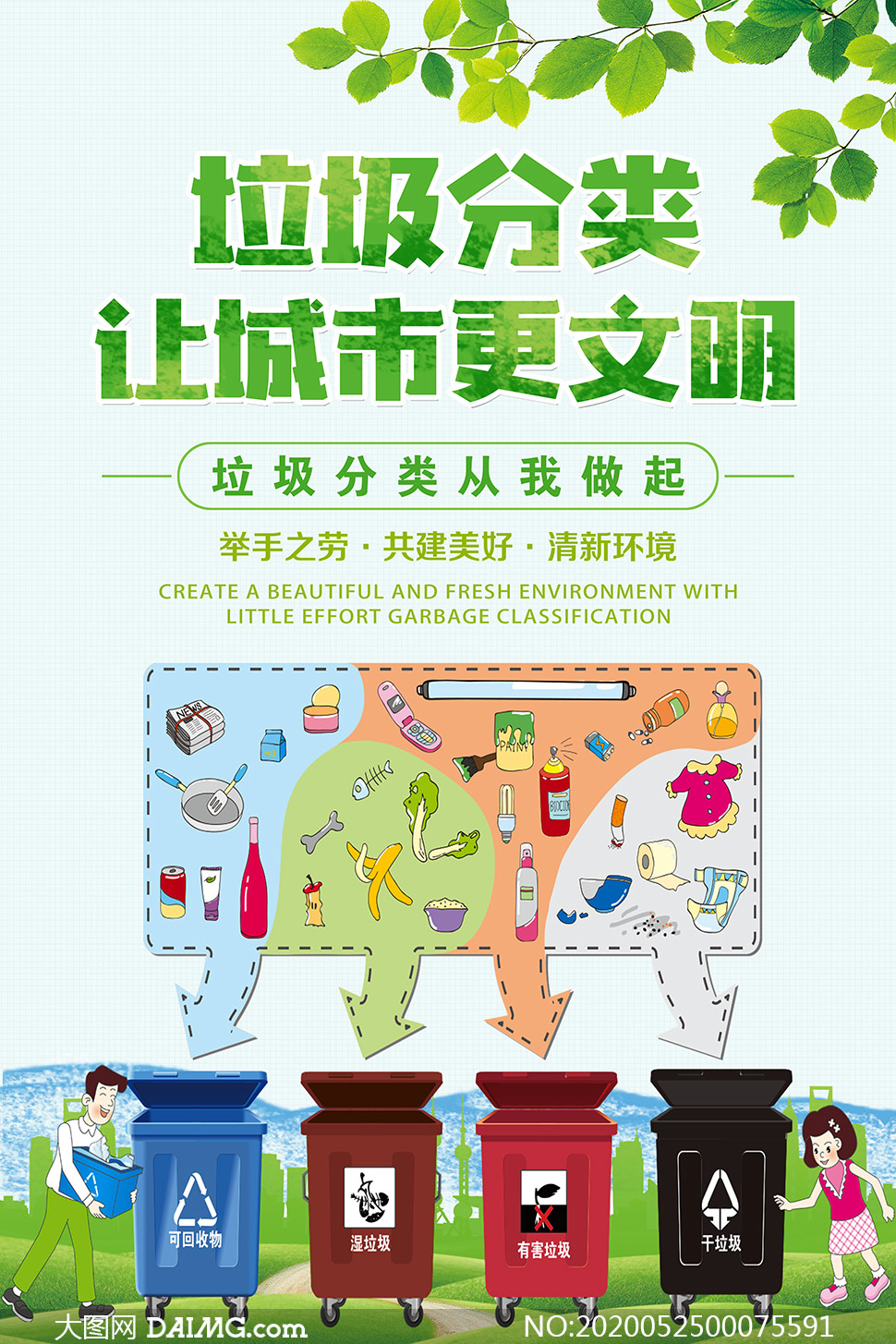 垃圾分类让城市更文明公益海报PSD素材