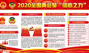 2020年全國兩會熱點宣傳展板PSD素材
