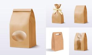 牛皮纸材质的包装袋设计主题矢量图