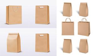 牛皮纸材质购物袋包装设计矢量素材