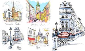 手绘风格城市建筑物插画主题矢量图