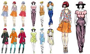 手绘时尚服饰模特创意设计矢量素材