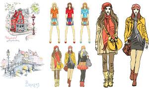 手绘风格城市风景与模特创意矢量图