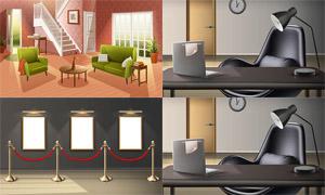 画廊展厅与室内家具等主题矢量素材
