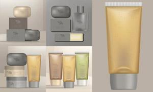 香皂乳液與潔面乳等護膚品矢量素材