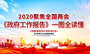 2020两会政府工作报告宣传栏PSD素材