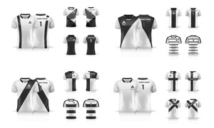 黑白圖案配色運動球衣設計矢量素材