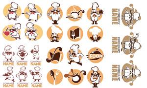 可爱卡通效果厨师人物标志矢量素材