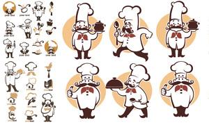 留着大胡子的厨师标志创意矢量素材