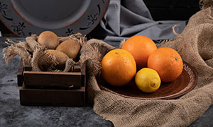 柠檬橙子与猕猴桃特写摄影高清图片