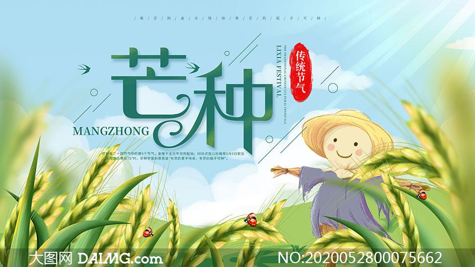 芒种传统节气宣传海报设计PSD素材