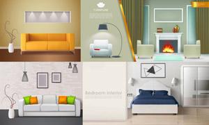 沙發等房間家具陳列等設計矢量素材