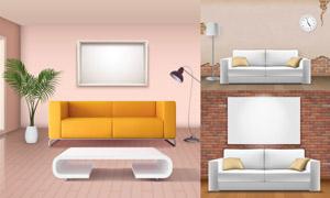 沙發茶幾落地燈與畫框主題矢量素材
