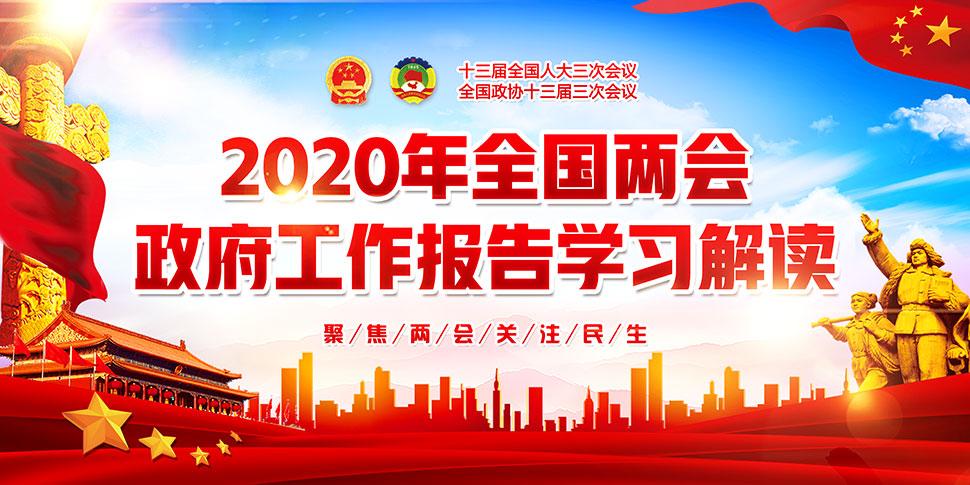 2020年全国两会政府工作报告宣传展板