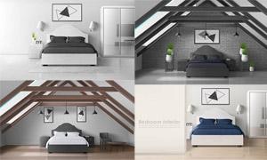 臥室大床與裝飾畫布置主題矢量素材