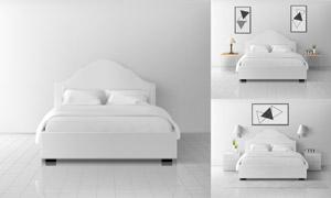 雙人床與幾何圖案裝飾畫等矢量素材