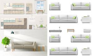 廚房電器與室內家具等創意矢量素材