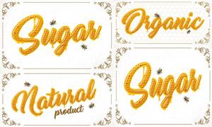 花紋邊框與蜂蜜效果立體字矢量素材