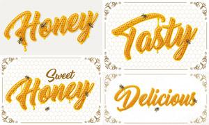 花紋裝飾邊框與蜂蜜字創意矢量素材
