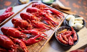 小龍蝦食材和配料攝影圖片