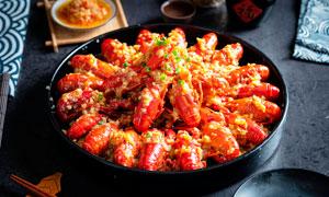 蒜蓉小龍蝦餐飲美食高清攝影圖片