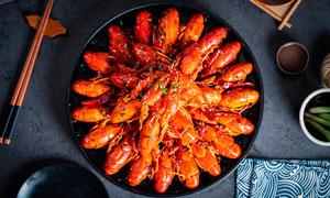 麻辣小龙虾菜品美食摄影图片