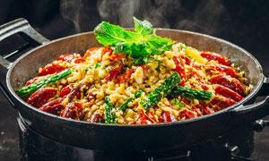干鍋蒜泥小龍蝦美食攝影圖片