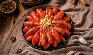 蒜蓉小龍蝦美食攝影圖片