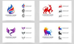 牛与老鹰等图案标志创意设计矢量图
