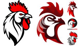 红色鸡冠的大公鸡标志创意矢量素材