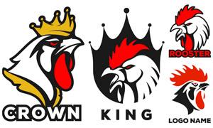戴皇冠的公鸡主题标志创意矢量素材