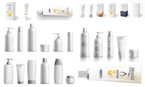 日常護膚用品與包裝盒設計矢量素材