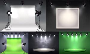 攝影棚燈光與幕布主題設計矢量素材