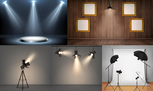 空白裝飾畫與燈光照明效果矢量素材