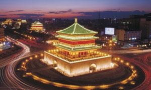 西安钟楼美丽夜景高清摄影提片