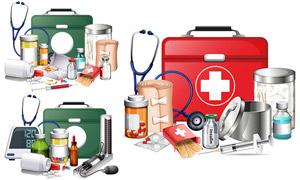 创可贴药品与医药箱等主题矢量素材