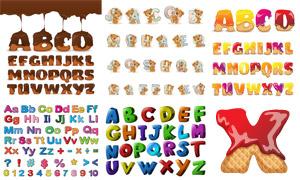 巧克力字與多彩立體字創意矢量素材