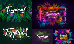 热带植物与霓虹字效等创意矢量素材
