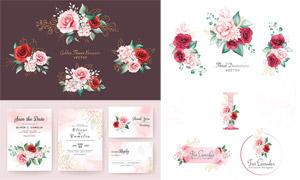 邀请函与水彩玫瑰花朵设计矢量素材