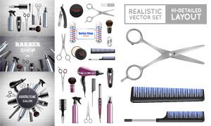 三色柱与理发剪等美发工具矢量素材