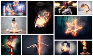 中文版照片添加火焰燃烧效果PS动作