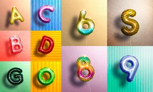 10款逼真的氣球立體字設計PSD模板V1